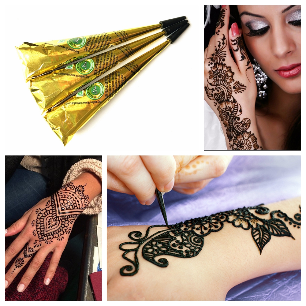 US $4.48 10% OFF|3PC Black Henna Tattoo Paste Cream Indian Mehndi  Waterproof Henna Tattoo Cones Black Ink Color Women Body Art Paint For  Stencil-in ...