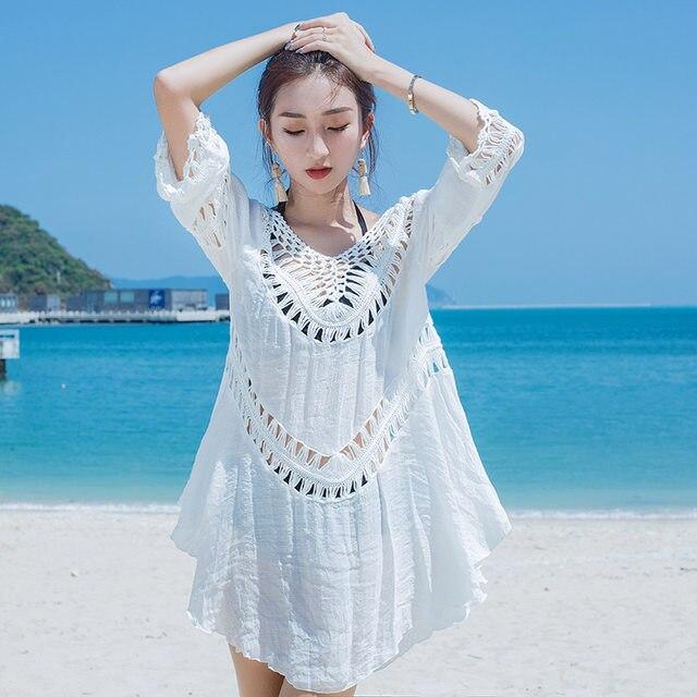 d251022a87bc1 Pareo beach Women White Summer Sexy Hollow Knit Bikini Swimwear Cover up  Crochet Beach Mini Dress Tops Blouse Bathing Suit