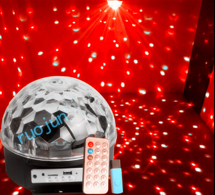 Fabulous Magic DJ Laser LED Color Change RGB Stage Lights Crystal Ball Effect Light Party Pub mp3 USB Disk Remote Control 10w rgb led crystal magic ball laser 6led dj party stage lighting effect light mini stage light free shipping