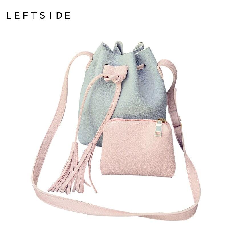 LEFTSIDE PU Leather Handbag Cheap Crossbody Handbags Organizer Small Cute Bucket Bag Messenger Women Feminina Bags Bolsos fairy tail 35