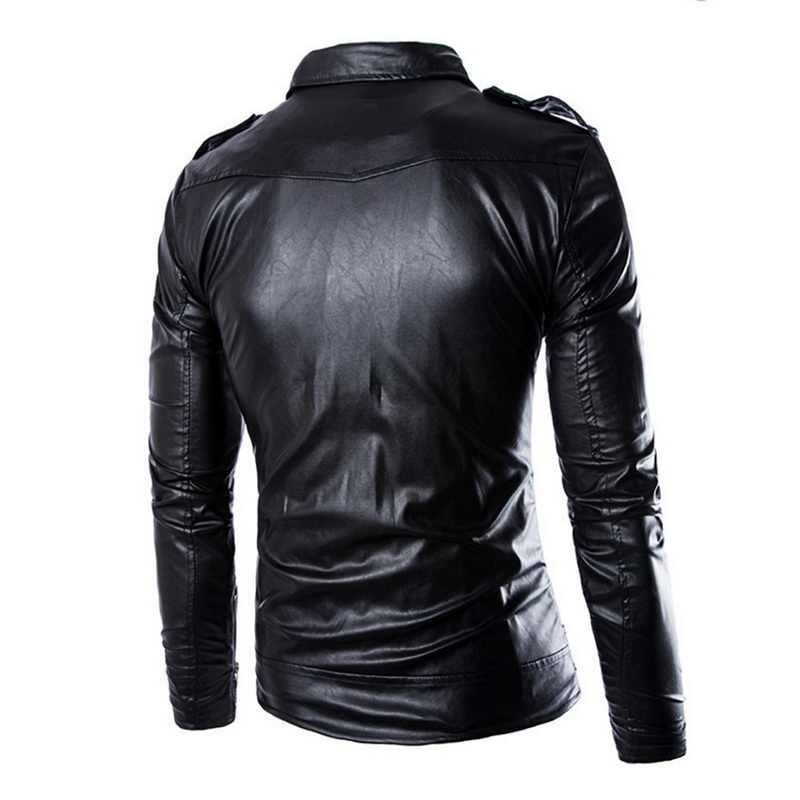 SHUJIN Brand  Leather Jacket Men Autumn Casual Zipper Mens Motorcycle Leather Jacket Winter Male Slim  Coat Plus Size 4XL