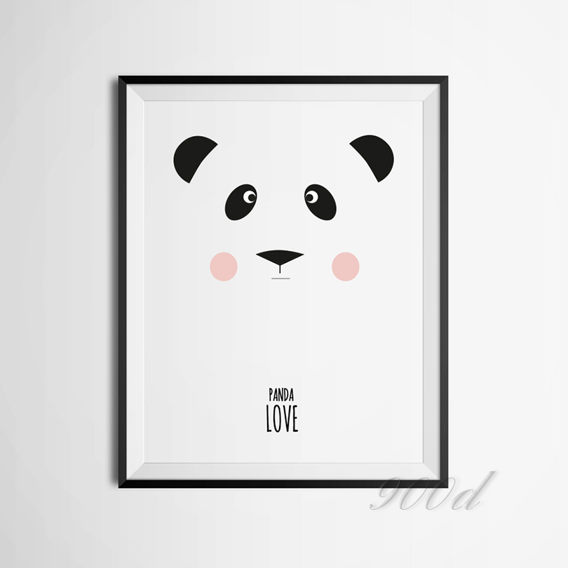 Cartoon Panda Canvas Art Print Poster Wall Pictures For Nursery