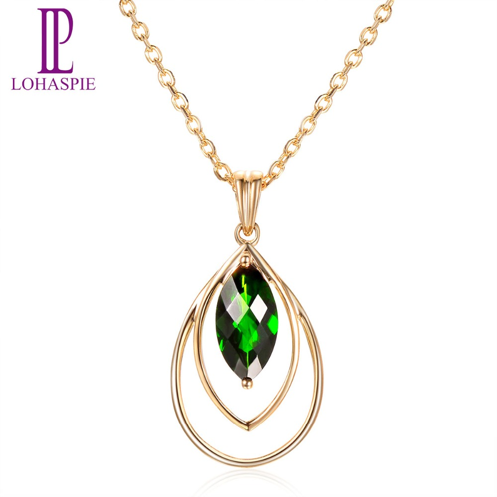 Lohaspie Stone Jewelry 9K Yellow Gold Natural Chrome Diopside Romantic Pendant Fine Fashion Gemstone Jewelry For Women's Gift