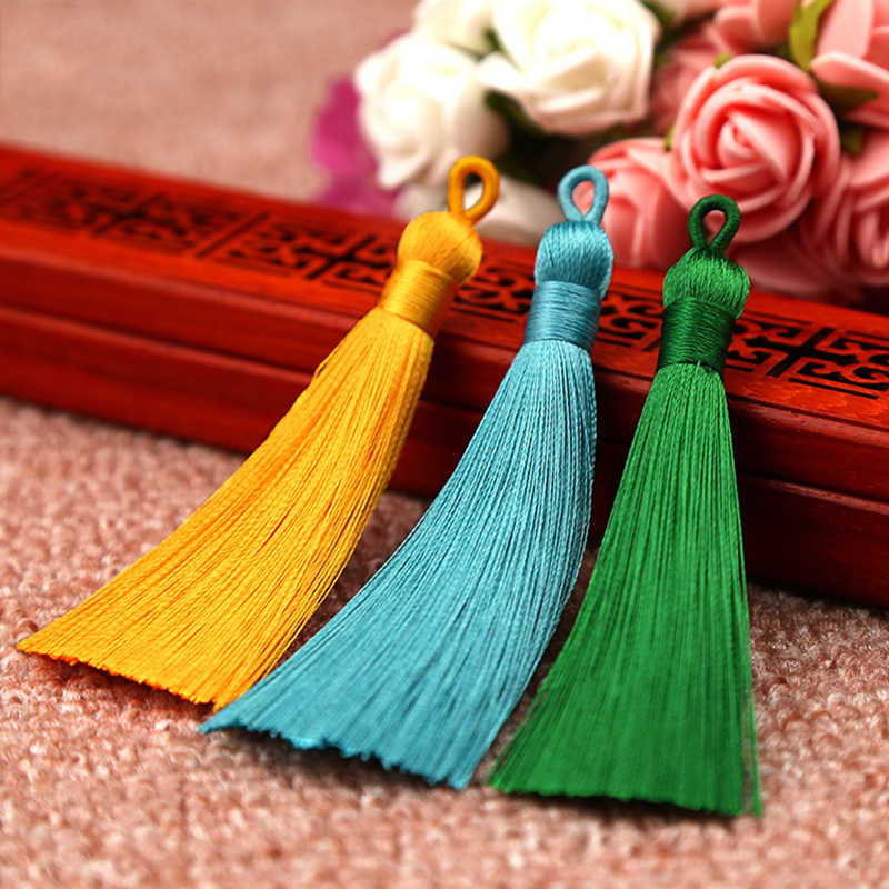 10pcs 8-9cm Colorful Cotton Silk Tassel Brush for Earring Charm Making Sati Tassels Pendant Diy Jewelry Findings Handmade Crafts