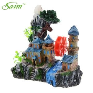 Image 4 - Kreatywny zamek dekoracja akwarium żywica widok górski akwarium ozdoby Waterwheel kamień napowietrzający zielone drzewo akcesoria do akwarium