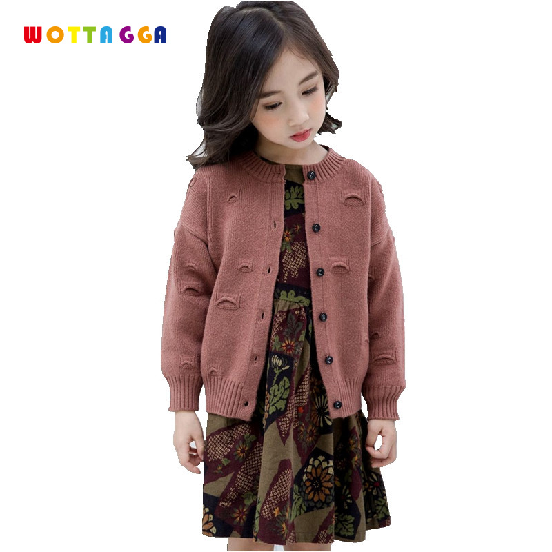 WOTTAGGA 2018 Boys Sweater Girls Autumn 2018 Solid Knitted Cardigan Fashion Christmas 3-7Y