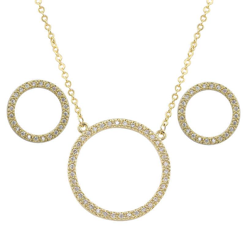 Cyrkoniami koło wisiorek biżuteria naszyjnik i kolczyki zestaw dla kobiet w Rhodium Silver kolor/Rose kolor złoty galwanicznie