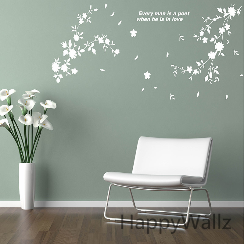 Captivating Flowers Wall Sticker Beautiful Flower Wall Decal 3D DIY Decorating Flower  Quotes Wall Decors Removable Wall Decoration F49 In Wall Stickers From Home  ...