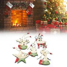 10pcs Christmas Snowman Deer  Letters Painted Wood Pendant Tree Decorations Closet Ornament