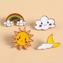Kawaii feliz arco-íris lua sol sorriso rosto esmalte broches emblemas lapela pinos broches feminino masculino jóias acessórios para presente