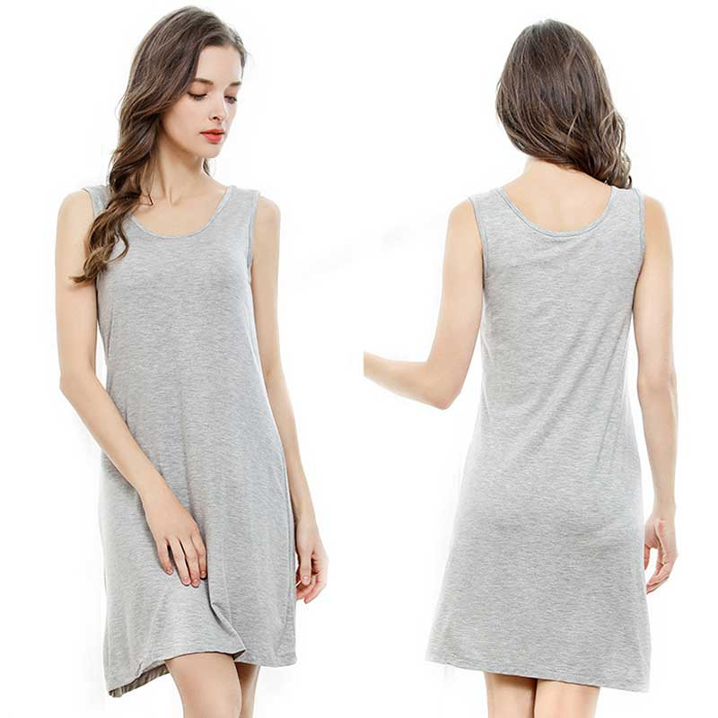 Loose Pullover Nightgowns Solid Cotton Night Dress Women Concise Casual Sleepwear Sexy Sleeveless Nightwear