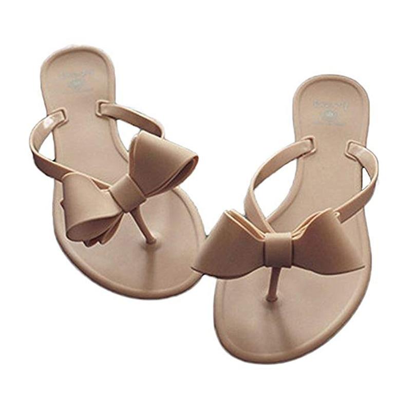 Women Bow Flats Flip-Flops Matte Slides Sandals Beach Shoes Waterproof Jelly Thong Slippers Dress Wedding Shoes