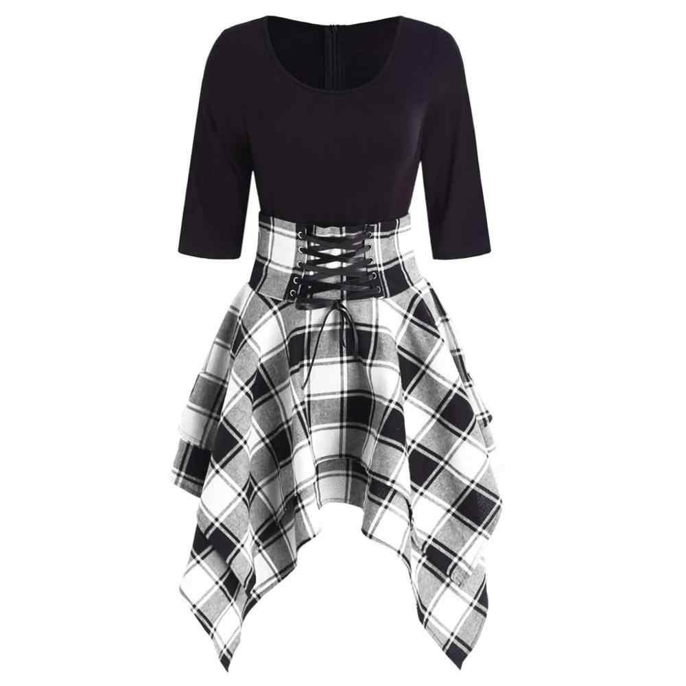 Letnie eleganckie koszule w szkocką kratę kobiety Casual O-Neck zasznurować Casual Tartan nadruk w szkocką kratę asymetryczna sukienka plażowa Mini sukienka Vestido
