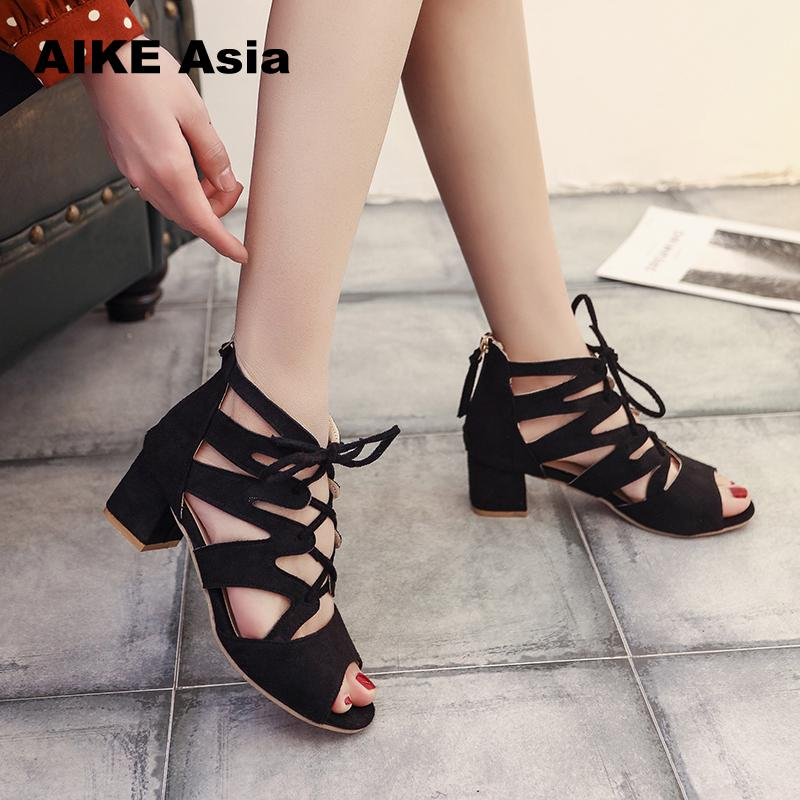 f0dd3169c Fashion Women Pumps Gladiator Peep Toe Thin Heel Summer Women High Heels  Shoes Casual Lace Up Ankle Strap Women Pumps-in Women's Pumps from Shoes on  ...
