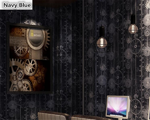 beibehang American style retro Industrial Wind Gear wall paper decoration net cafe cafeteria PVC papel de parede 3d wallpaper