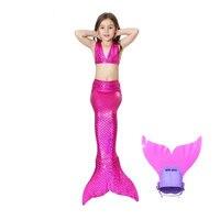Hot Sales Kids Beach Clothing Summer Rose Red Mermaid Bikini Swimsuit Girl Mermaid Tail Monofin Children Cosplay Beachwear Photo
