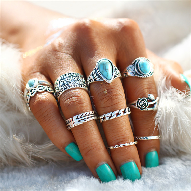 HTB1gaelRXXXXXbCaXXXq6xXFXXXg 10-Pieces Vintage Tibetan Turquoise Knuckle Ring Set For Women - 2 Colors