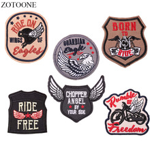 ZOTOONE Iron on Motorcycle Patch for Clothes Jacket Badge Applique Embroidery Eagle Bike Tactical Patches Backpack DIY