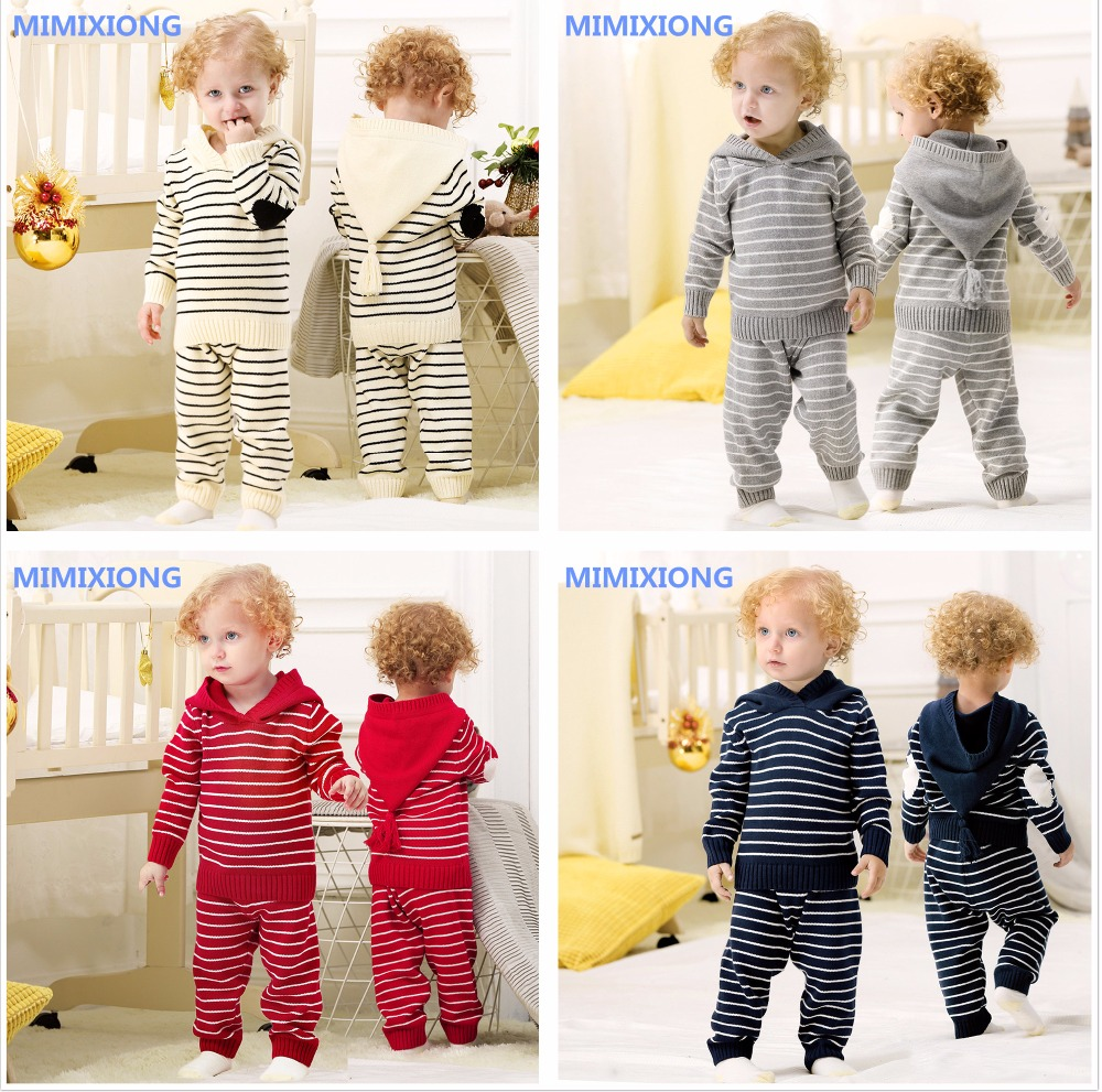 Newborn Toddler Infant Baby Boy Girl Clothes Fashion Fringe Hooded Sweatshirt Tops Striped Pants Kids 2pcs Outfits Autumn Casual