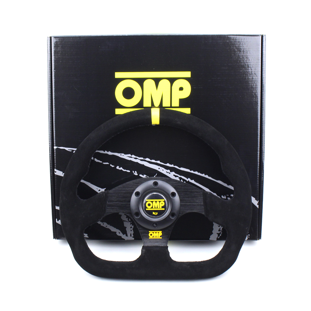 Top Quality Black Flat Suede Leather OMP Professional Racing Rally Sport Drift Steering Wheel