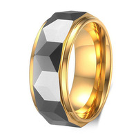Hot Sale 8MM Width 18K Gold Plated Tungsten Carbide Wedding Ring Promise Jewelry For Man Woman