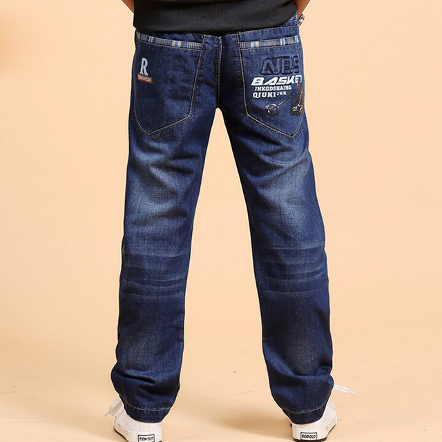 Большой мальчик осень одежда 2016 новых детей мальчиков джинсы дети весной и осенью брюки брюки подростковые случайные прямые середине джинсы