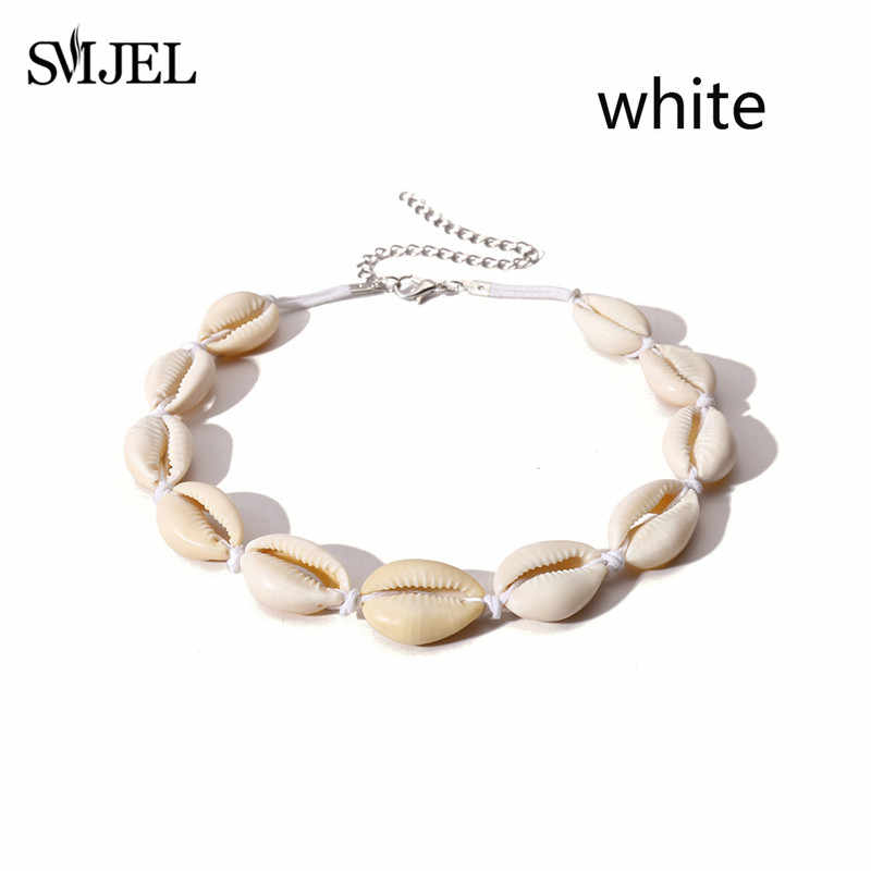 สีขาวเชือกเปลือกสร้อยคอสำหรับสตรีแฟชั่น Bohemian Cowrie Shell จี้สร้อยคอ Choker ฤดูร้อน Beach เครื่องประดับ