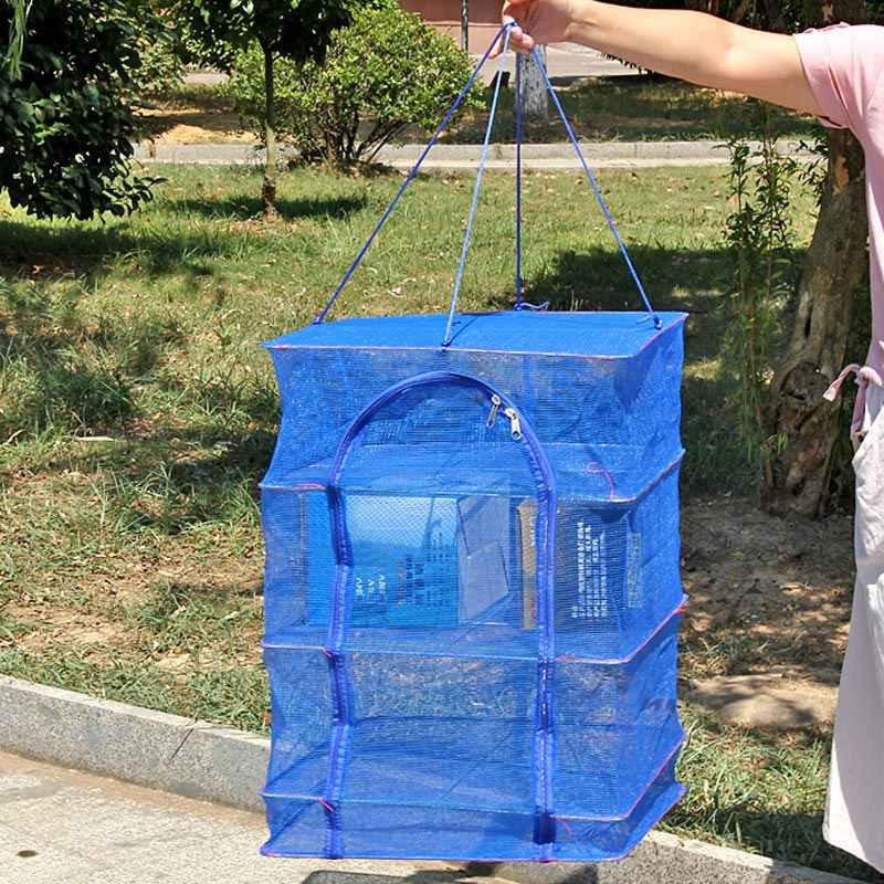 Lipat 4 Lapisan Kering Memancing Net Rak Menggantung Sayuran Hidangan Ikan Pengering PE Gantungan Ikan Bersih 19ing