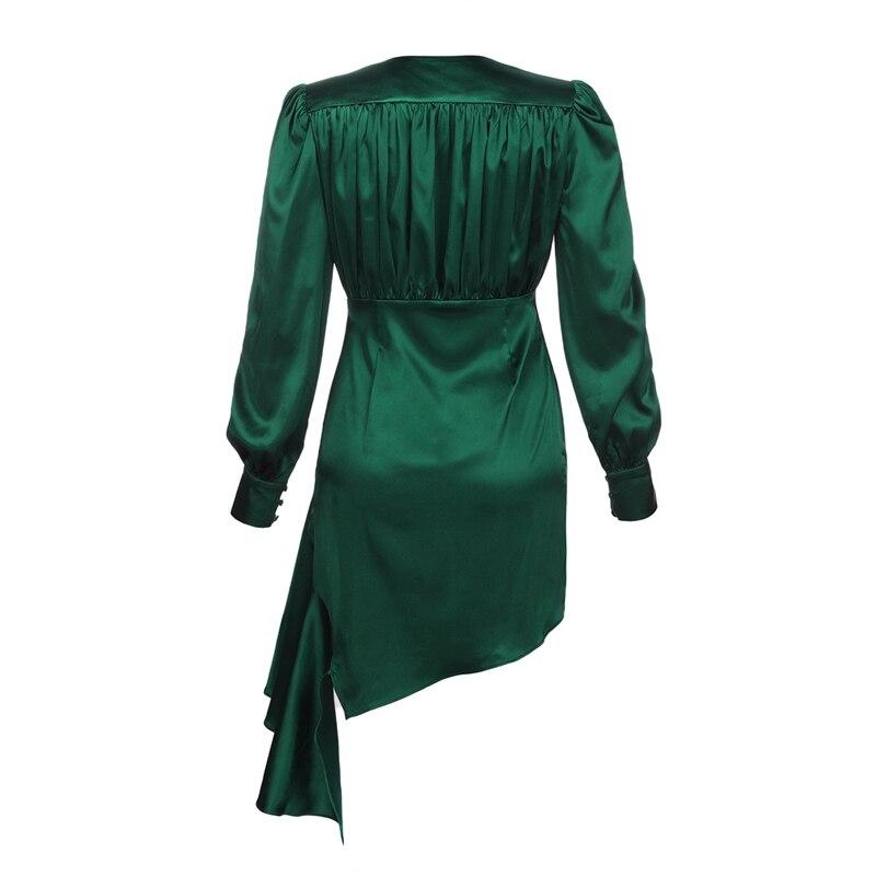 Manches Cou De Club V Indressme Moulante Summer Party Cristal Nouvelles Green Nouveau Robe Longues À Robes Drapée 2019 Femmes Avec Asymétrique xq18IT