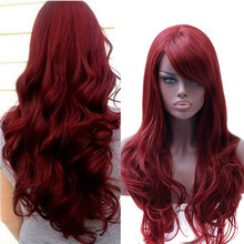 MUMUPI High Temperature Wire Hair cosplay wigs for women's headwear fashion Long water wave Red Wig girls Party Synthetic(China)