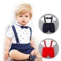 0 24M Baby Rompers Infant Jumpsuit Toddler Cotton Short Sleeve Bib Pant Kid Gentleman Casual Suit