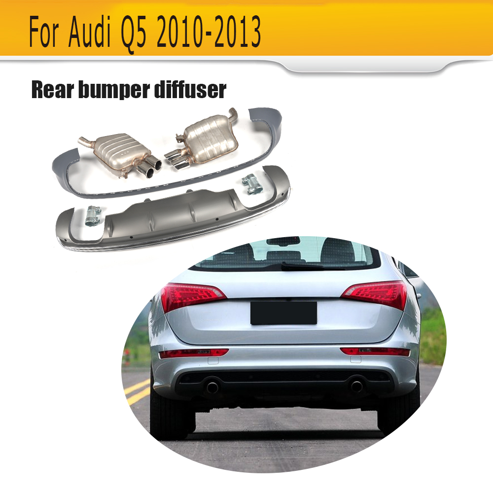 Rear Bumper Diffuser Lip Spoiler With Exhaust for Audi  Q5 Sport Utility 4 Door 2010 2011 2012 2013 Grey PP