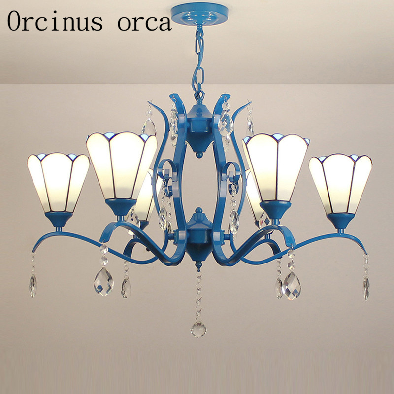 European Mediterranean style Iron Chandelier Tiffany American style simple living room dining room bedroom lamps and lanterns