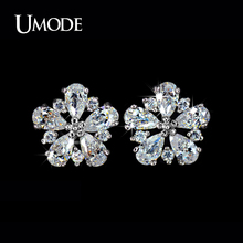 UMODE Brand Earings Hot Selling AAA Cubic Zirconia Flower Shaped Stud Earrings For Women Fashion Jewelry