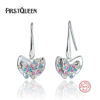 FirstQueen 925 Sterling Silver Fashion Butterfly Earrings With AAA Zirconia Push Back Clasp Earrings For Women