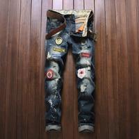2019 Jeans Men's Warm Male Jeans Men Ripped Denim Trousers Pants Fashion New Men's Casual Patch Jeans
