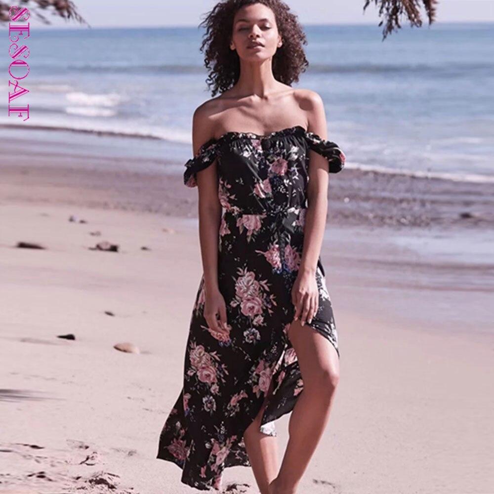 SESOAF D'été Plage Maxi Robe Pour Les Femmes 2018 Sexy Vacances Off Épaule Longue Floral Robe Haute Fente Haute Taille Robes