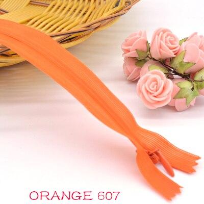 Новинка, 6 шт./лот, фирменная невидимая молния, 25 см/40 см/60 см, задняя подушка, юбка, скрытая, 3#, нейлоновая молния для шитья/одежды, аксессуары, сделай сам - Цвет: orange 607