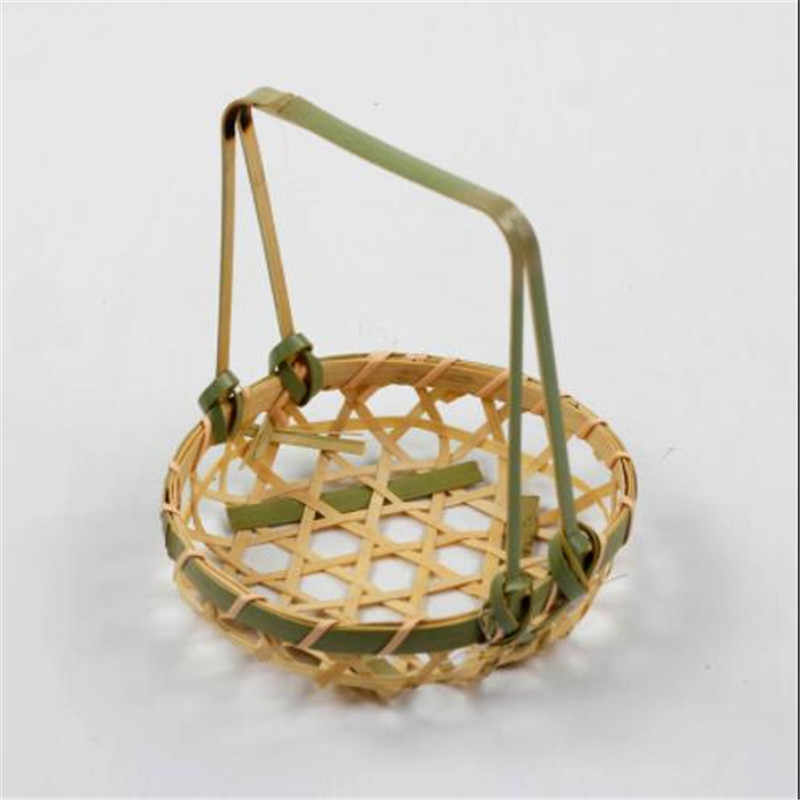Bambu Piring Tangan Dibuat Bambu Menenun Bahan Makanan Keranjang Circular Menerima Kasus Buah Mangkuk Piring Pengeringan Pengki Kandang Organizer