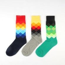 Autumn Winter Brand Fashion Creative Cotton Socks For Men Colorful Diamond Plaid Long Socks Male Funny Socks 3pairs/lot