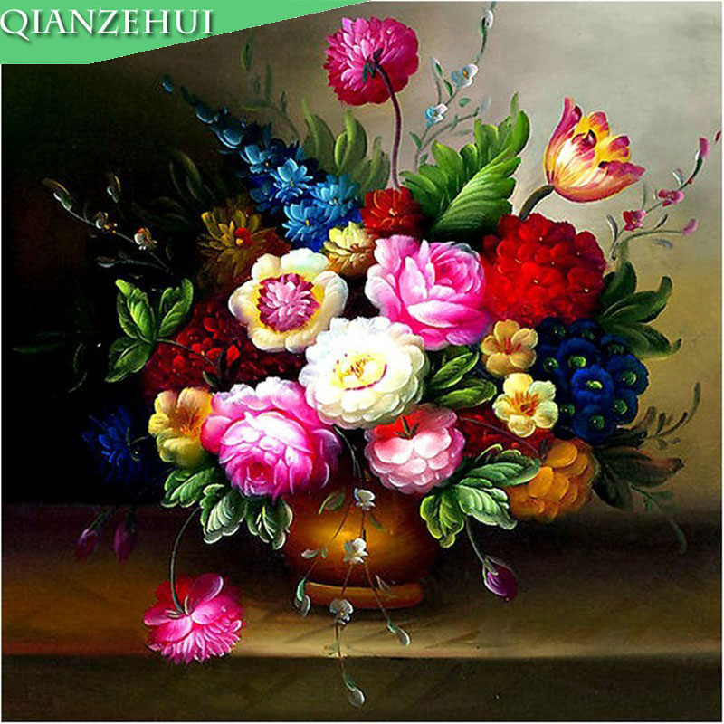 QIANZEHUI,Needlework,DIY Vase Painting Silk Peony Flower Vase Cross-stitch ,Sets For Embroidery Kits,Wall Home Decor