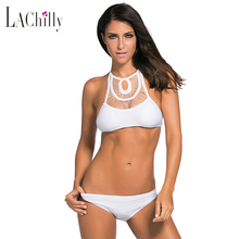 2016 Summer 2 Pc Brazilian Fringed Cut-Out Halter Tie Bandage Crop Top Swimsuit High Neck Bathing Suit For Women LC41741