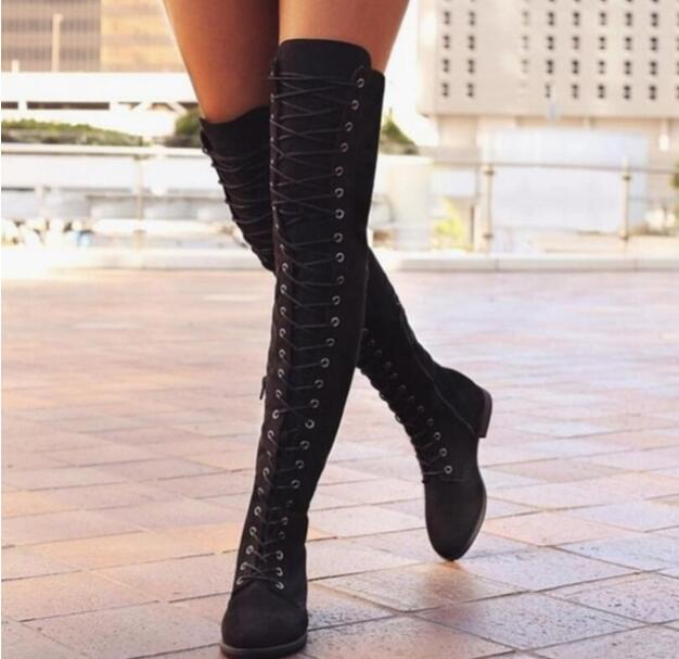 High-Boots Snow-Dance Womens Lace-Up Fashion New Knee Canvas Ankle Zapatos-De-Mujer Flat