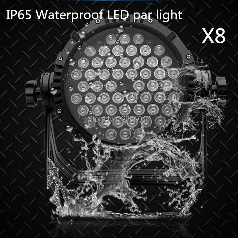 8 шт. 54x3 Вт Водонепроницаемый светодиодный Par фары, RGBW светодиодный Par DMX512 профессиональной сцене джеев огни дискотеки IP65 открытый световой э
