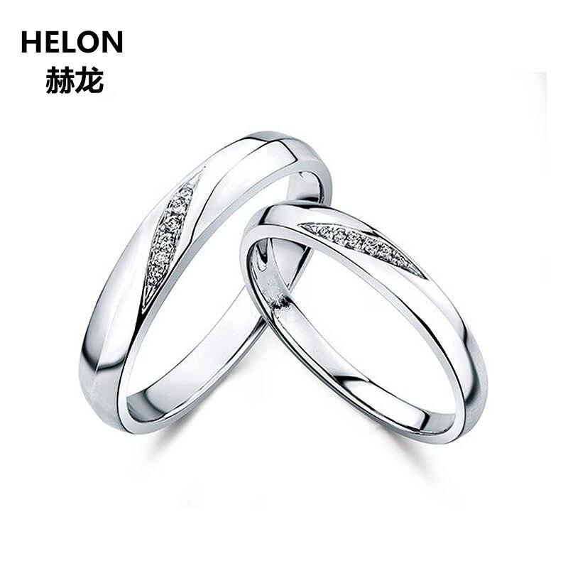 Bague de fiançailles en or blanc 14 k solide pour femmes bague de Couple d'anniversaire pour cadeau de bijoux fins des amoureux