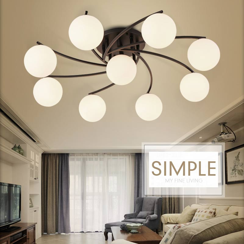 Flush Mount Led Modern Chandelier For Living Room Wedding Decoration Home Lighting Black Wrought Iron Glass Lampshade Lustre E27
