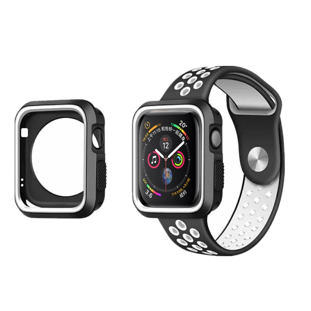 CRESTED sport Band & case For Apple watch 4 44mm 40mm correa iwatch series 3 2 1 42mm 38mm silicone protective protector shell crested silicone cover case for apple watch band 4 44mm 40mm screen protector iwatch 3 2 1 42mm 38mm soft ultra thin clear frame