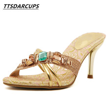 TTSDARCUPS High heel cool slippers  Fine sandals Metal decoration of water drill Sexy night shop pump Rome womens shoes