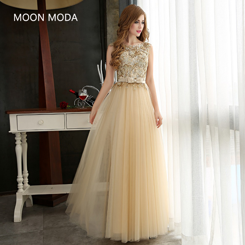 Evening Dress Long Women Stunning Gold Golden Gowns Formal Sequins Special Occasion 2019 Sequined Tulle Lace  vestidos de noche