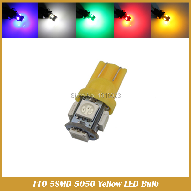 10pcs Car Styling 5SMD 5050 T10 W5w LED Yellow White Blue Park Position Light Wedge Bulbs Auto Side Marker Interior Light